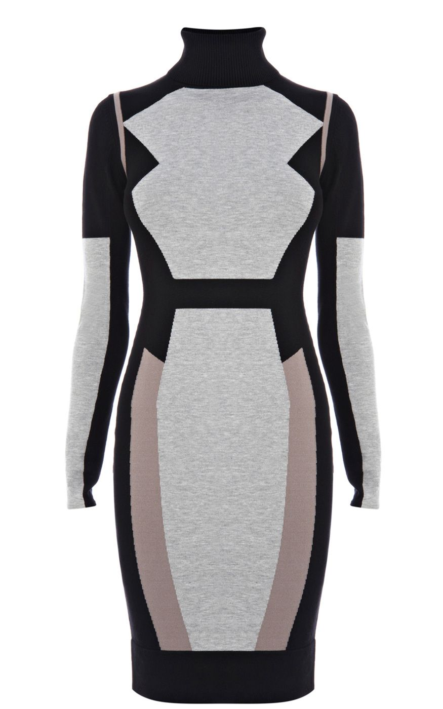 COLOURBLOCK SKINNY KNIT DRESS  Long sleeved colour blocked knit dress with Karen Millen branded metal zip at back neck Make this long-sleeved knit dress the focal point of your outfit. The form-fitting design looks great teamed with tights and boots for an easy autumnal look.
