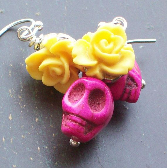 Sugar Skull and Yellow Rose earrings by VivaGailBeads on Etsy, $10.25