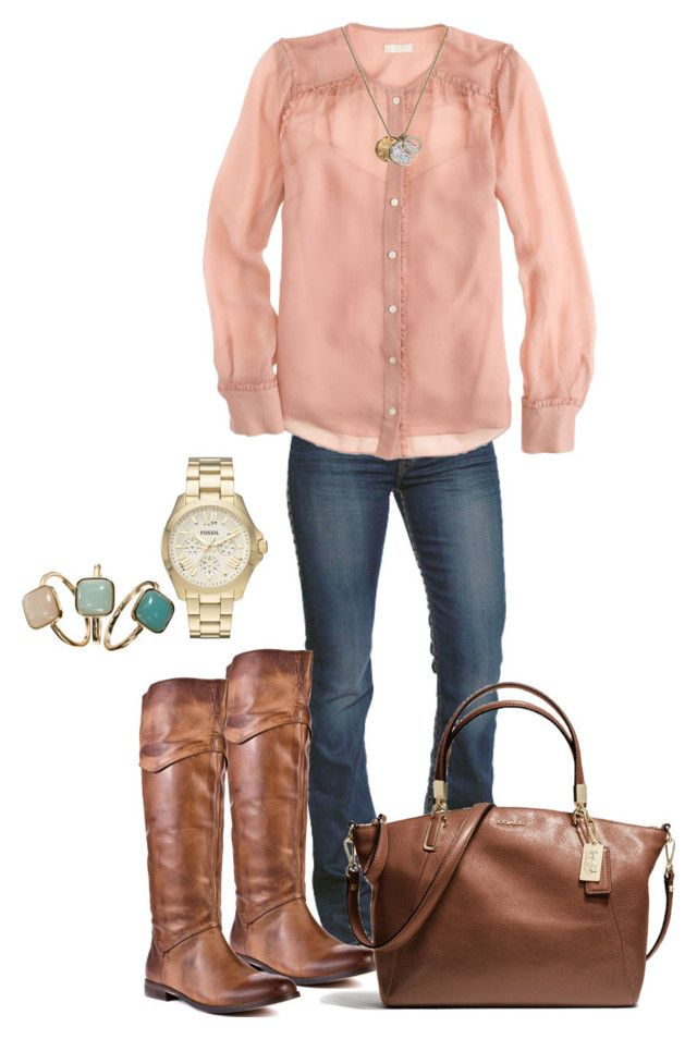 """Luchiny Boots"" by jrcnine ❤ liked on Polyvore featuring 1921, Luichiny, J.Crew, Coach, FOSSIL, Accessorize and American Eagle Outfitters"