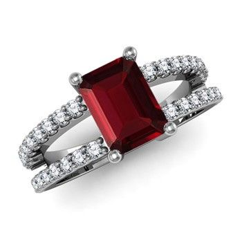 Angara Split Shank Garnet Engagement Ring in Platinum TgZOsT9e