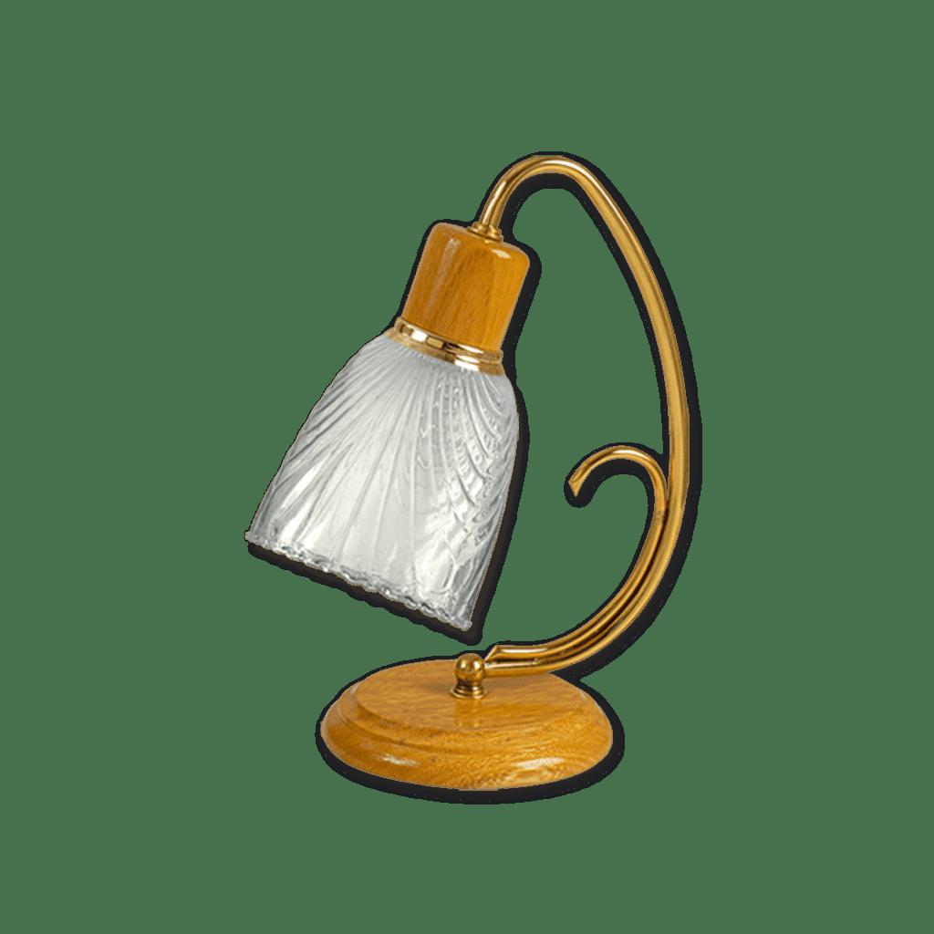 Velador lampara roble con dorado tulipa labrada iluminación san martin