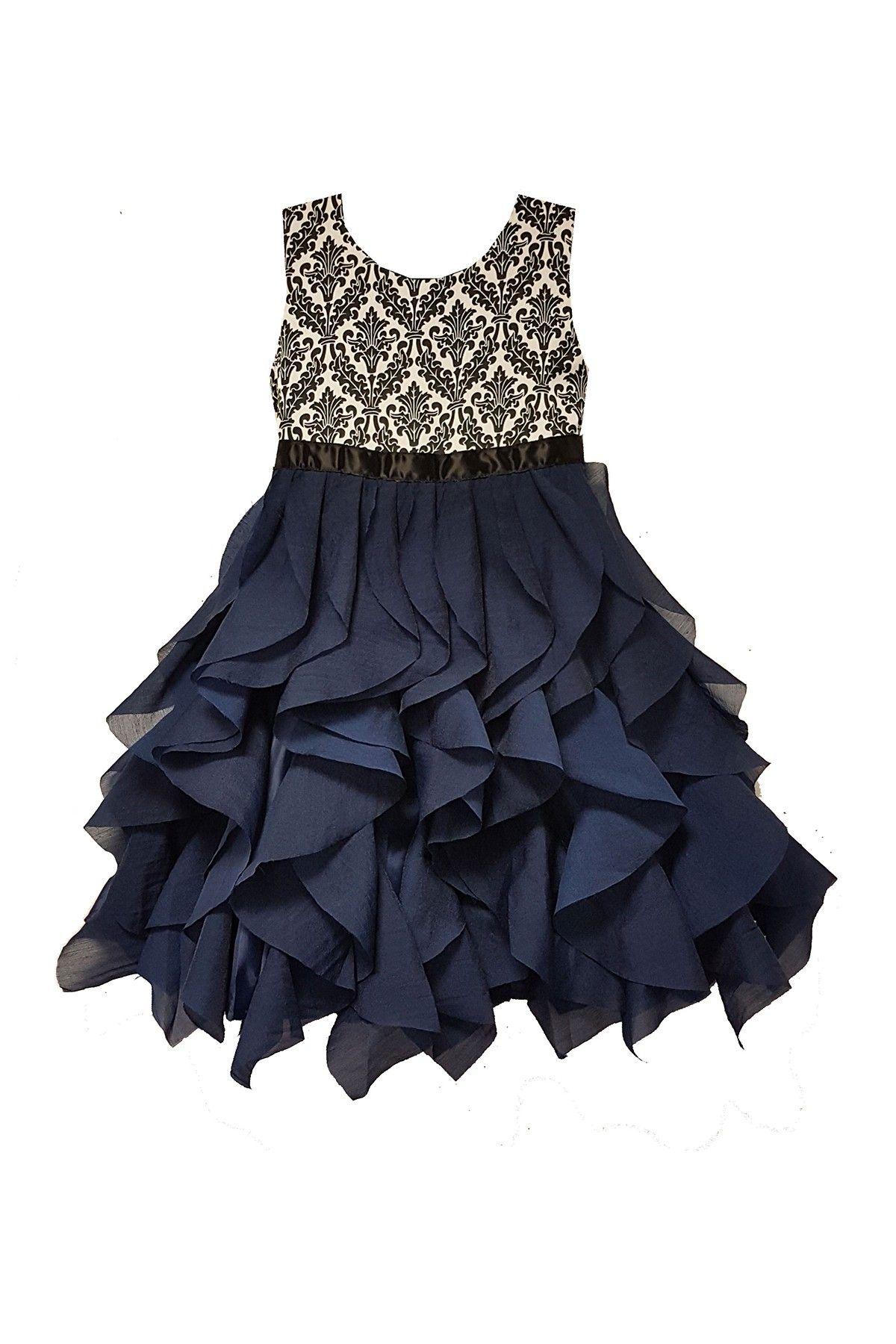 a9669f14833092 Elegant Waterfall Tiered Damask Dress (Toddler