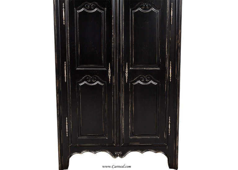 Antiqued French Country Style Black Lacquered Armoire