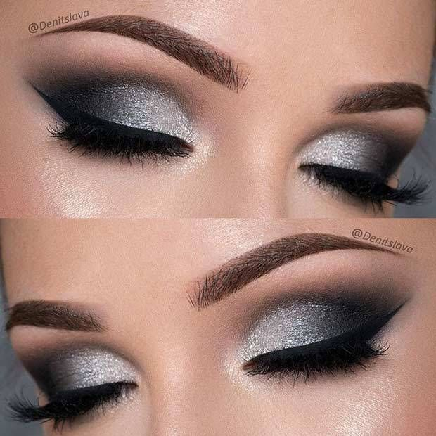 21 Insanely Beautiful Makeup Ideas for Prom: #4. DRAMATIC BLACK & SILVER SMOKEY #makeupprom