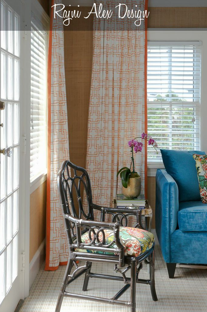 Teal Blue Sofa With Orange Curtains In Graphic Print From Kravet In A Sunroom Blue Living Room Orange Curtains Interior