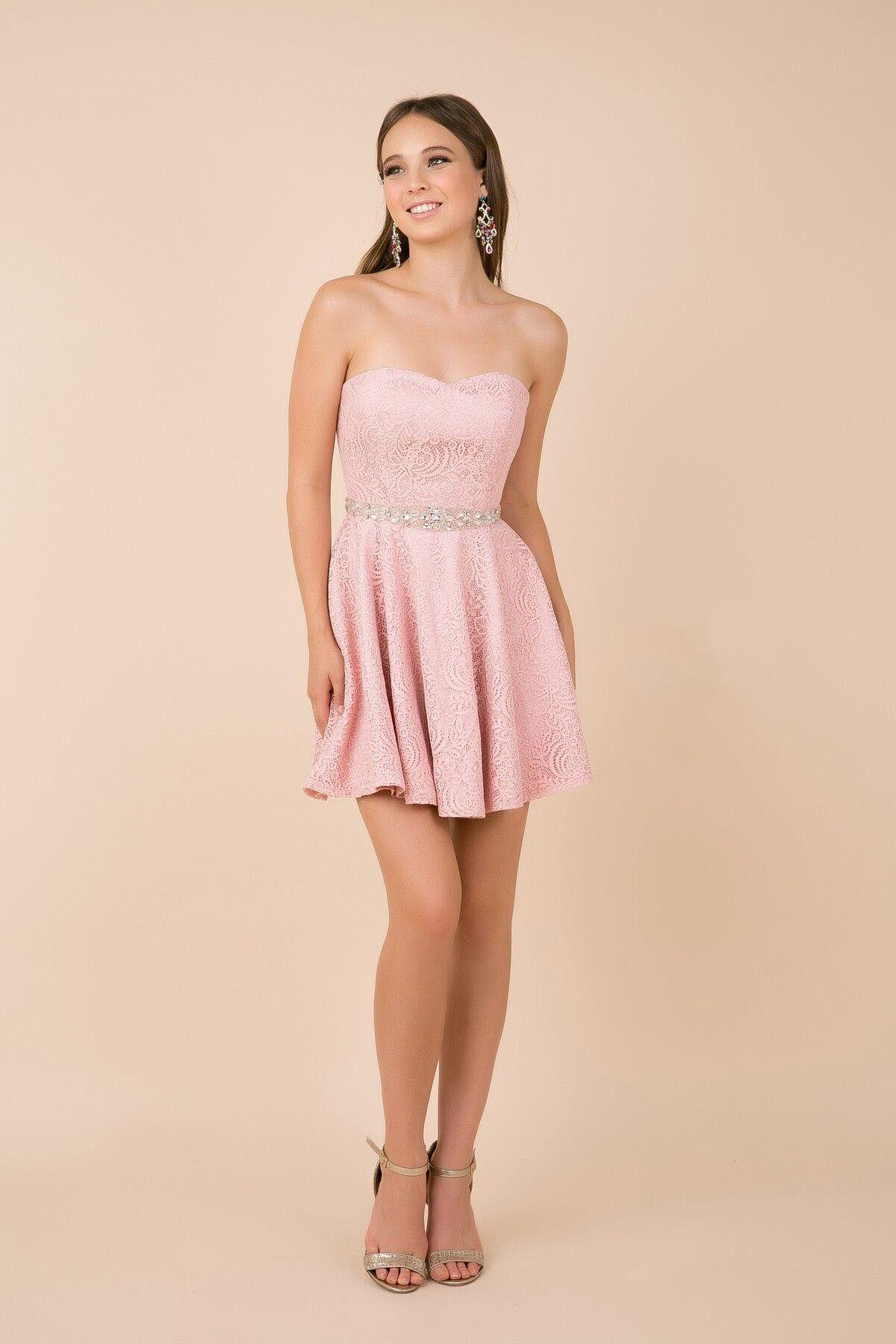 Nox Anabel 6358 Embellished Waist Sweetheart Neckline Cocktail Dress Pink Dress Short Bridesmaid Dresses Plus Size Plus Size Wedding Guest Dresses [ 1800 x 1200 Pixel ]