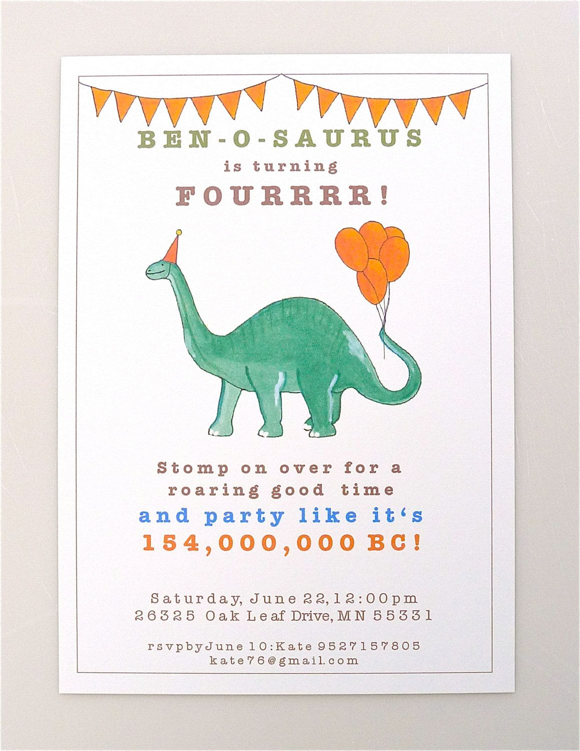 PRINTABLE Dinosaur Invitation - Brontosaurus - boys party ...