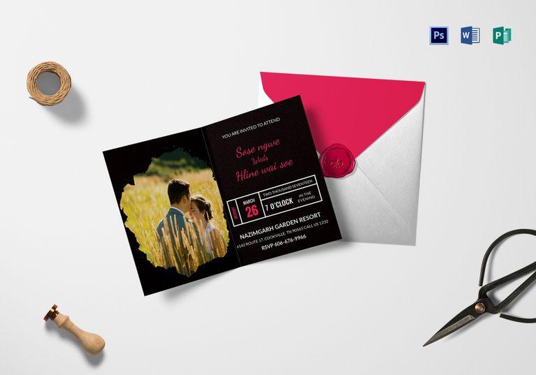 Black Engagement Invitation Card Template Pinterest Engagement