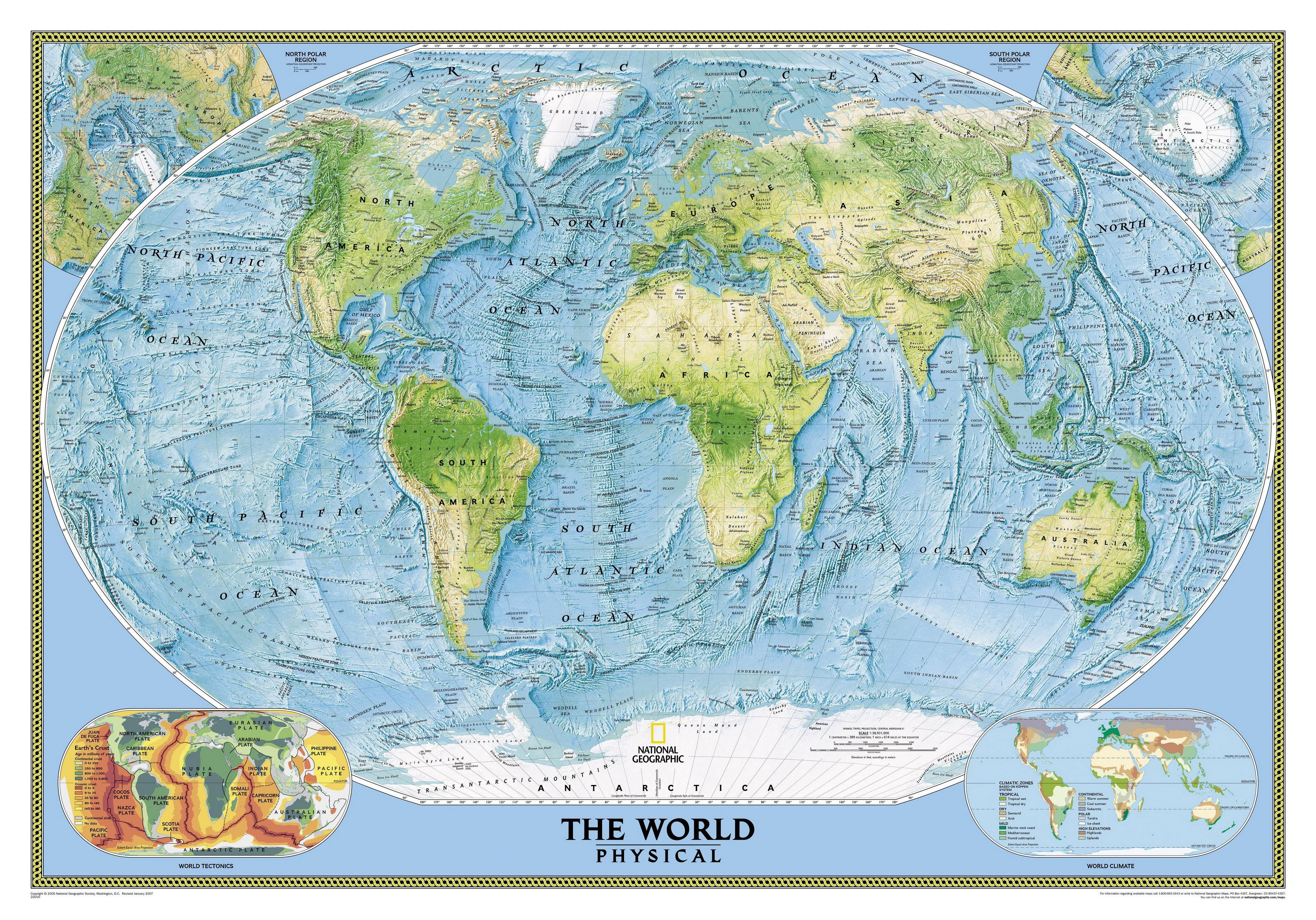 Physical map of the sea floor phisical map of the earth 221b world nat physical lamin this huge wall map highlights the earths land and undersea forms with exquisite hand painted relief sciox Gallery