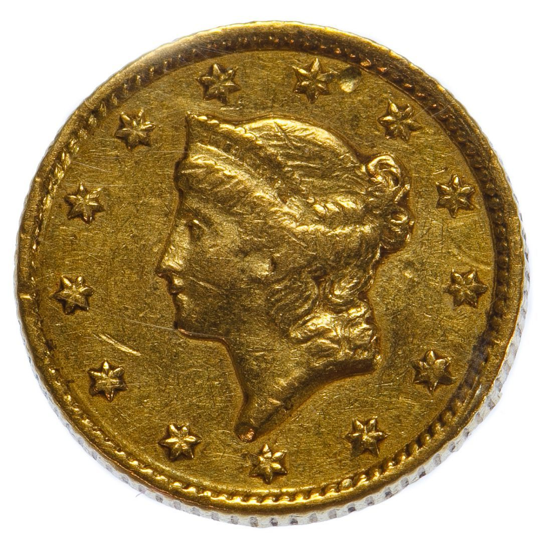 Lot 53: 1853 $1 Gold F Details; Ex-jewelry