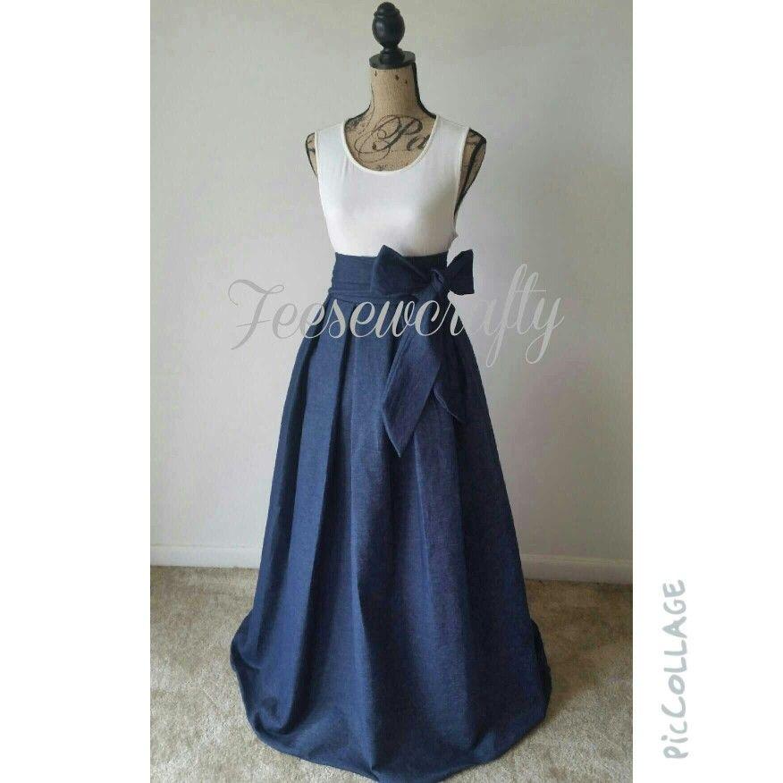 denim pleated maxi skirt with custom peekaboo pockets