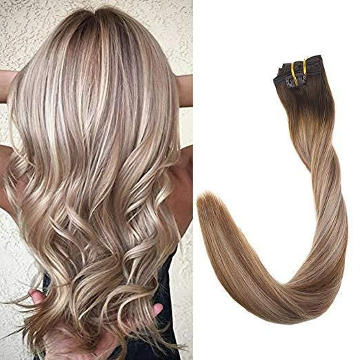 Details about Full Shine Clip In Hair Extensions 7Pcs 100g Ombre Remy Human Hair Color 4/6/18 #humanhairextensions