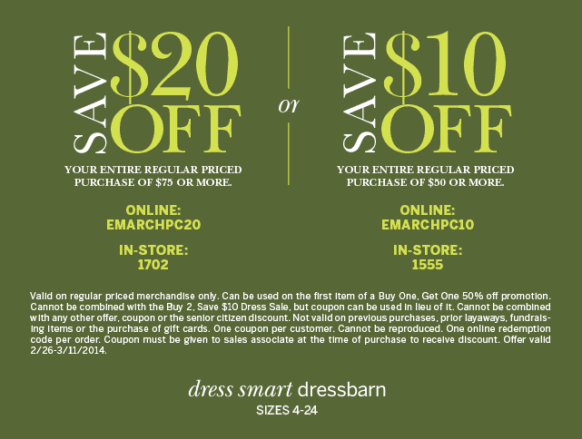 picture regarding Dress Barn Printable Coupon named Pinned March 5th: $10 off $50 and even further at dressbarn, or