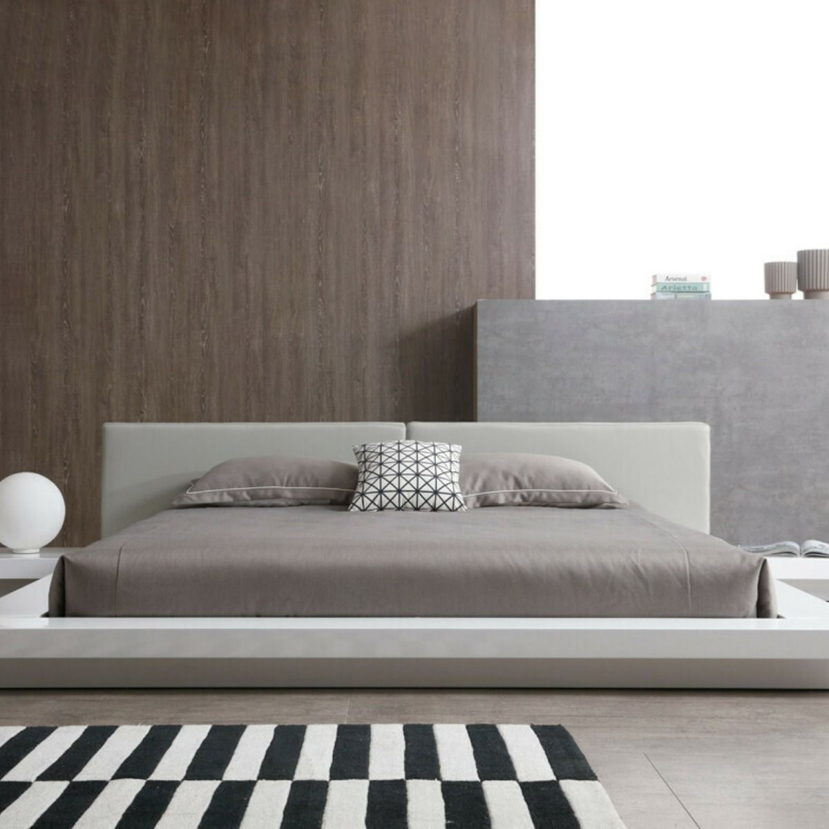 Modrest Opal Modern White & Grey Platform Bed VGBD855