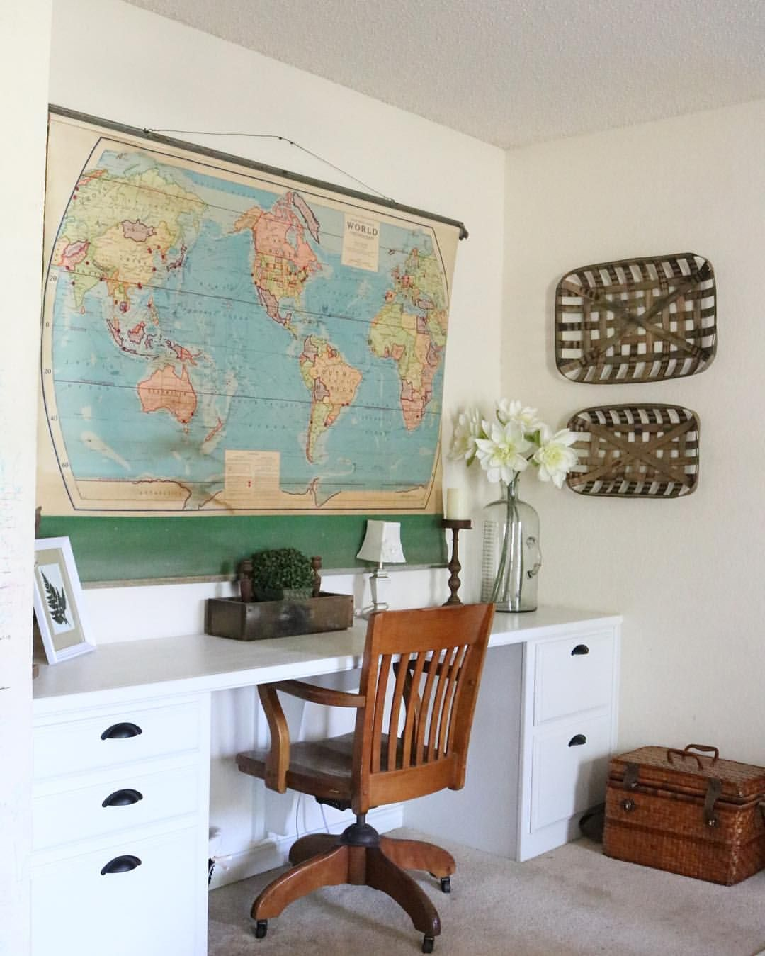 vintage office decorating ideas. Built In Desk. Vintage Pull Down Schoolhouse Map. Antique Office Chair. Tobacco Baskets Decorating Ideas