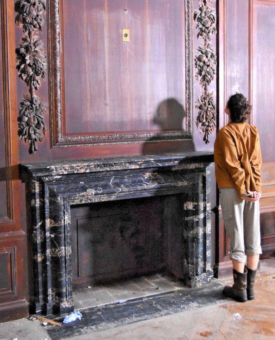 1915 Portoro Black Gold Marble Fireplace Laverock Hill Estate