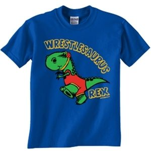 Help the little ones show off their love for wrestling as well! Give them the wrestlesaurus rex t-shirt!