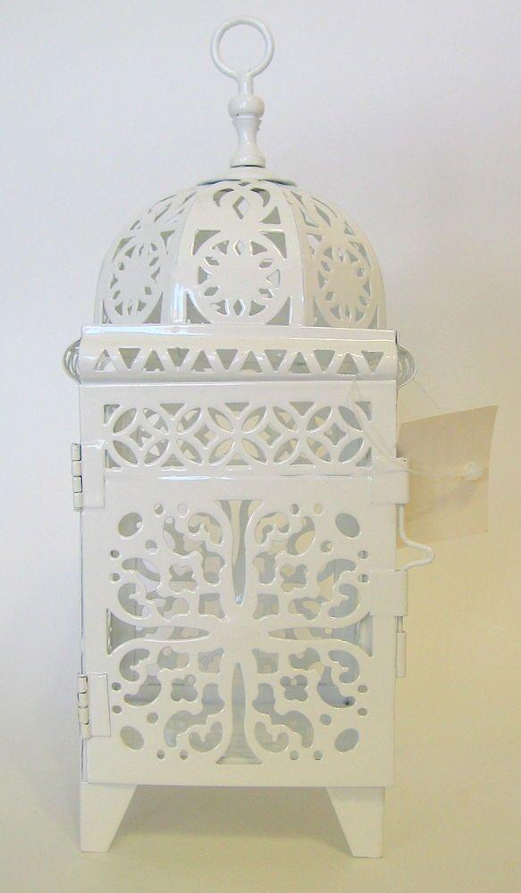 Ornate White Metal Domed Lantern Romantic Accessory