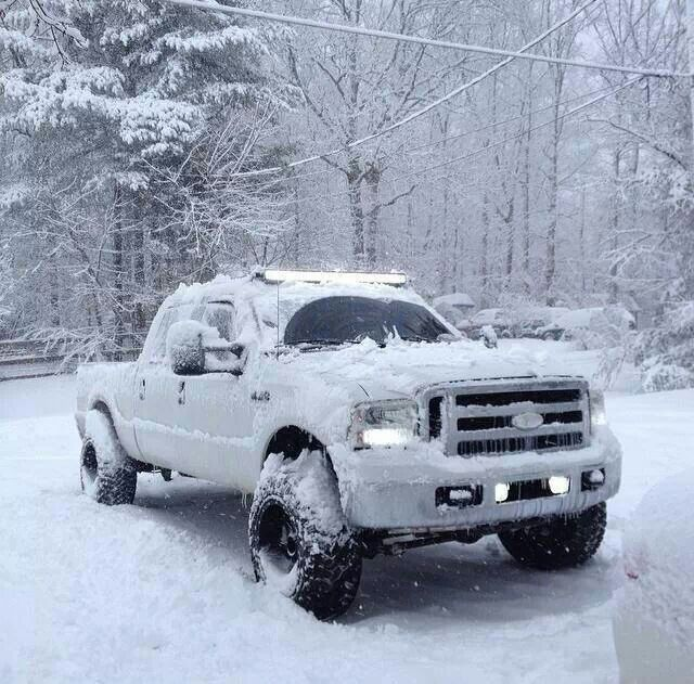 Lifted White Fordf 250 Truck Manitoba Winter Snow Ford Trucks