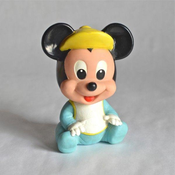 p>Figurine Mickey bébé vintage en caoutchouc , marque Arco Disney ...