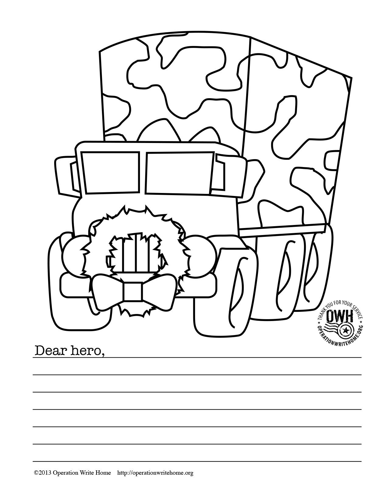FREE military Coloring pages for Christmas Operation Write Home