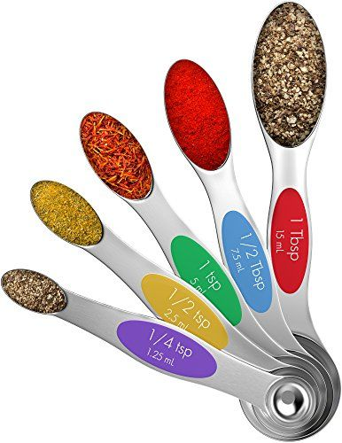 Vremi Magnetic Stainless Steel Measuring Spoons Set Of