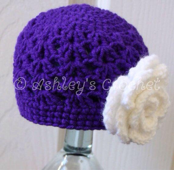 Double-V Beanie Flower Beanie Flower Hat by SewFancyCrochet