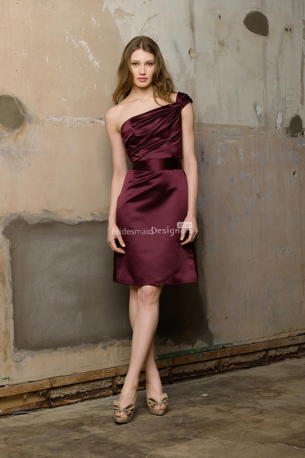 Funky burgundy twist drape one shoulder knee length a line satin funky burgundy twist drape one shoulder knee length a line satin bridesmaid dress with sash ombrellifo Images