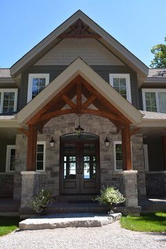 Front Entryway Double Doors And Arched Beam Craftsman Exterior