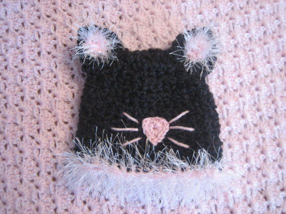 Purrrrfectly Adorable Black Cat Hat by MadhatterknitsCo on Etsy, $20.00