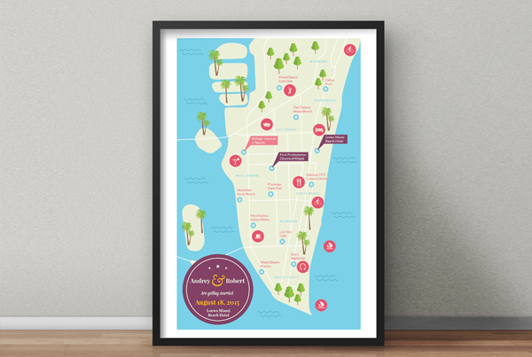 Wedding Map – Send personal information and modify up to three infographic elements for the price stated above. Each extra modification is available for an additional $5. If you want to add more information, please check our options for custom made giftographics.