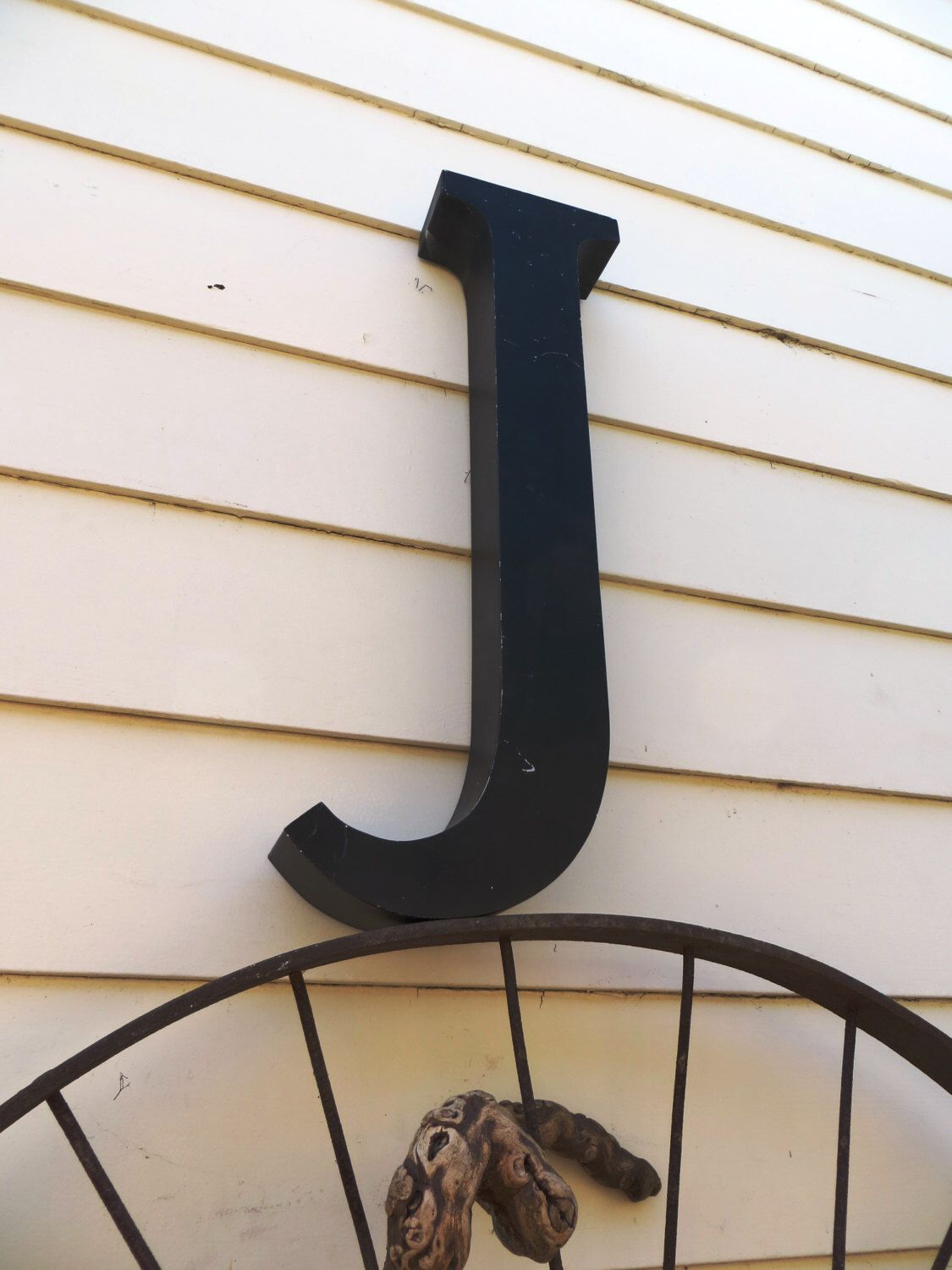 Large Metal Letter J Vintage Marquee Sign Letter Capital 'j' Large Tall Matte Black
