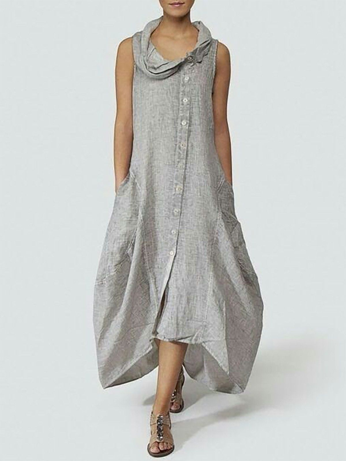 61bffc7b55d05 Gray Solid Basic Cocoon Cotton Casual Dress | New Clothing | Dresses ...