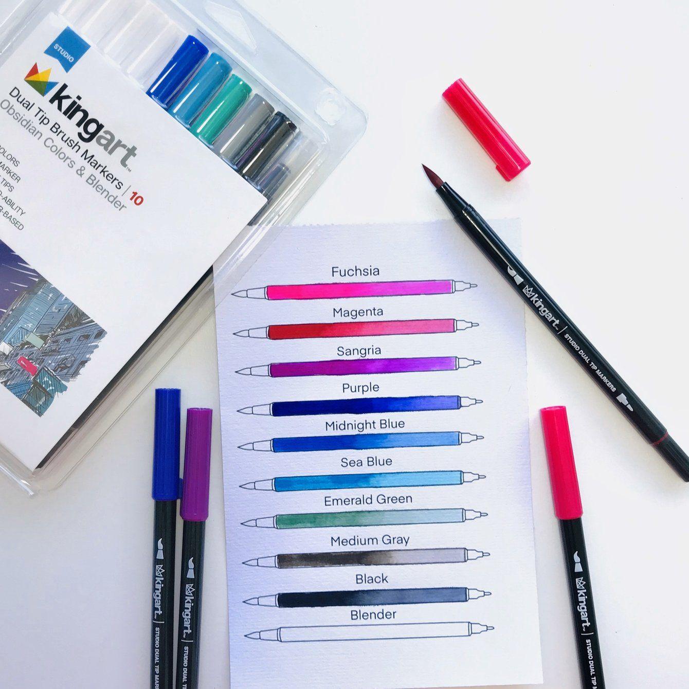Studio Dual Tip Brush Pens Set Of 10 Obsidian Colors Blender