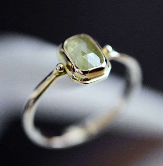 Diamond engagement ring in 14k gold yellow rose by LaurelsBench