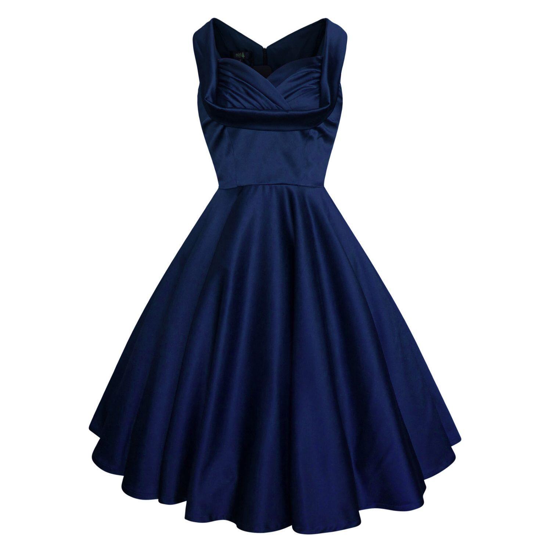 Lady Mayra Elsa Navy Christmas Dress Vintage Rockabilly Clothing Pin
