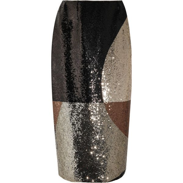 TOM FORD Sequined stretch-satin skirt (281.840 RUB) via Polyvore featuring skirts, brown, geometric print skirt, brown skirt, tom ford, metallic skirts и geometric skirt