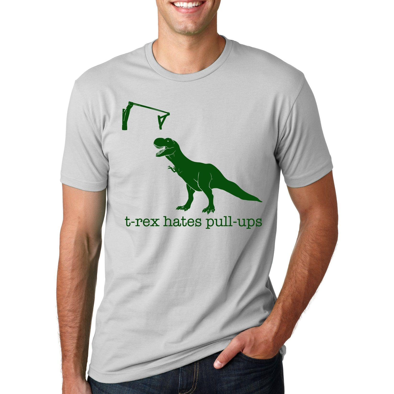 T-rex Hates Pull Ups T-Shirt Funny Dinosaur Pullup Tee