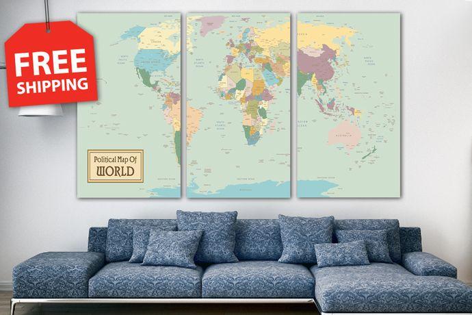 Xxl extra large world map panel set detailed world map xxl xxl extra large world map panel set detailed world map xxl stretched canvas world gumiabroncs Images