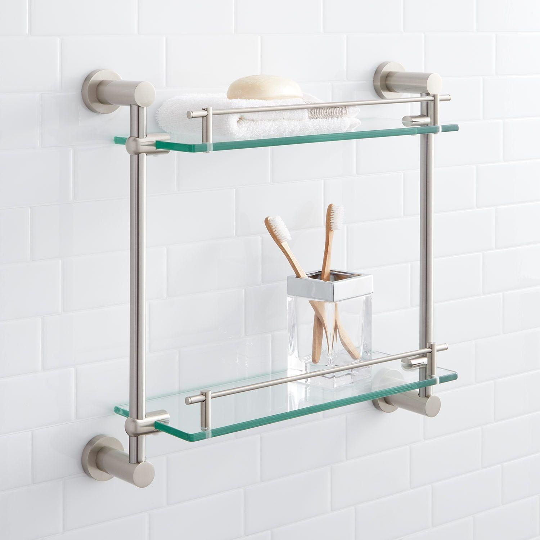 Ceeley Tempered Glass Shelf Two Shelves Bathroom Shelves Bathroom Accessories Bathroom In 2020 Glass Bathroom Shelves Tempered Glass Shelves Shower Shelves