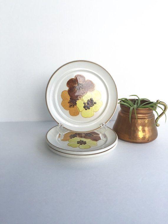 S A L E Vintage Denby Potpourri Honey Bread and Butter Plates Set of Mid Century Denby-Langley Potpourri Honey Plates & S A L E Vintage Denby Potpourri Honey Bread and Butter Plates Set of ...