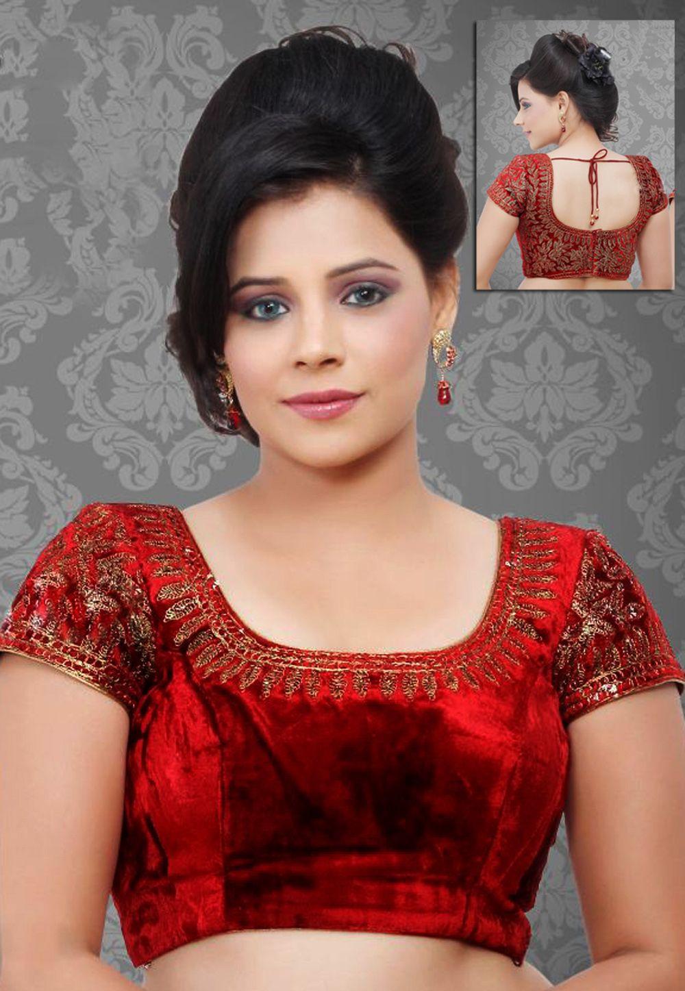096ed8873819e8 Red #Velvet Readymade #Blouse @ $123.11 | Blouse Pattern Online in ...