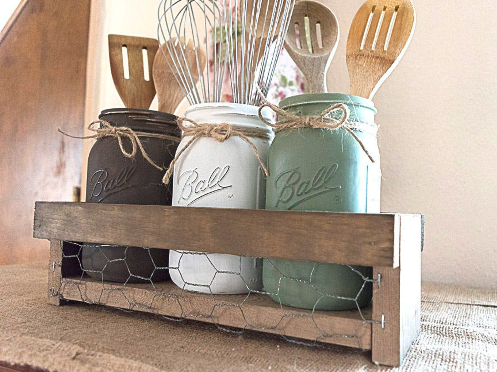 Farmhouse Mason Jar Kitchen Utensil Holder Rustic Kitchen Etsy Mason Jar Kitchen Decor Mason Jar Kitchen Vintage Kitchen Decor