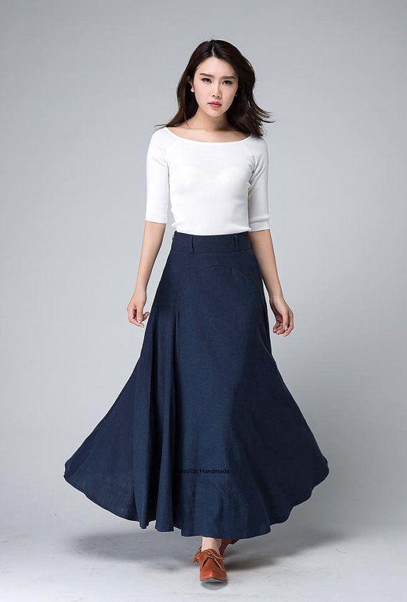 09ba8a26e8 Falda azul oscura falda lino maxi falda falda de caída una