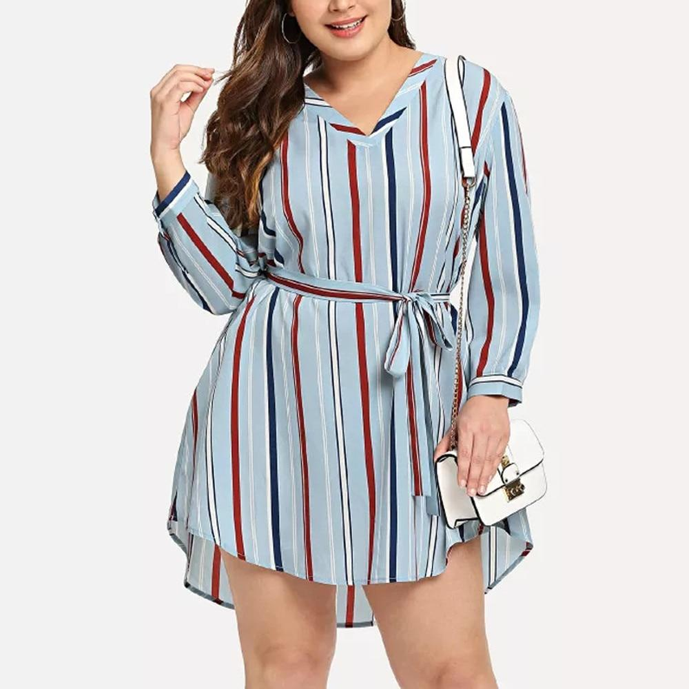 Plus Size Striped Casual Dress Moda Pluz Size Modelos De Vestido Feminino Roupas [ 1000 x 1000 Pixel ]