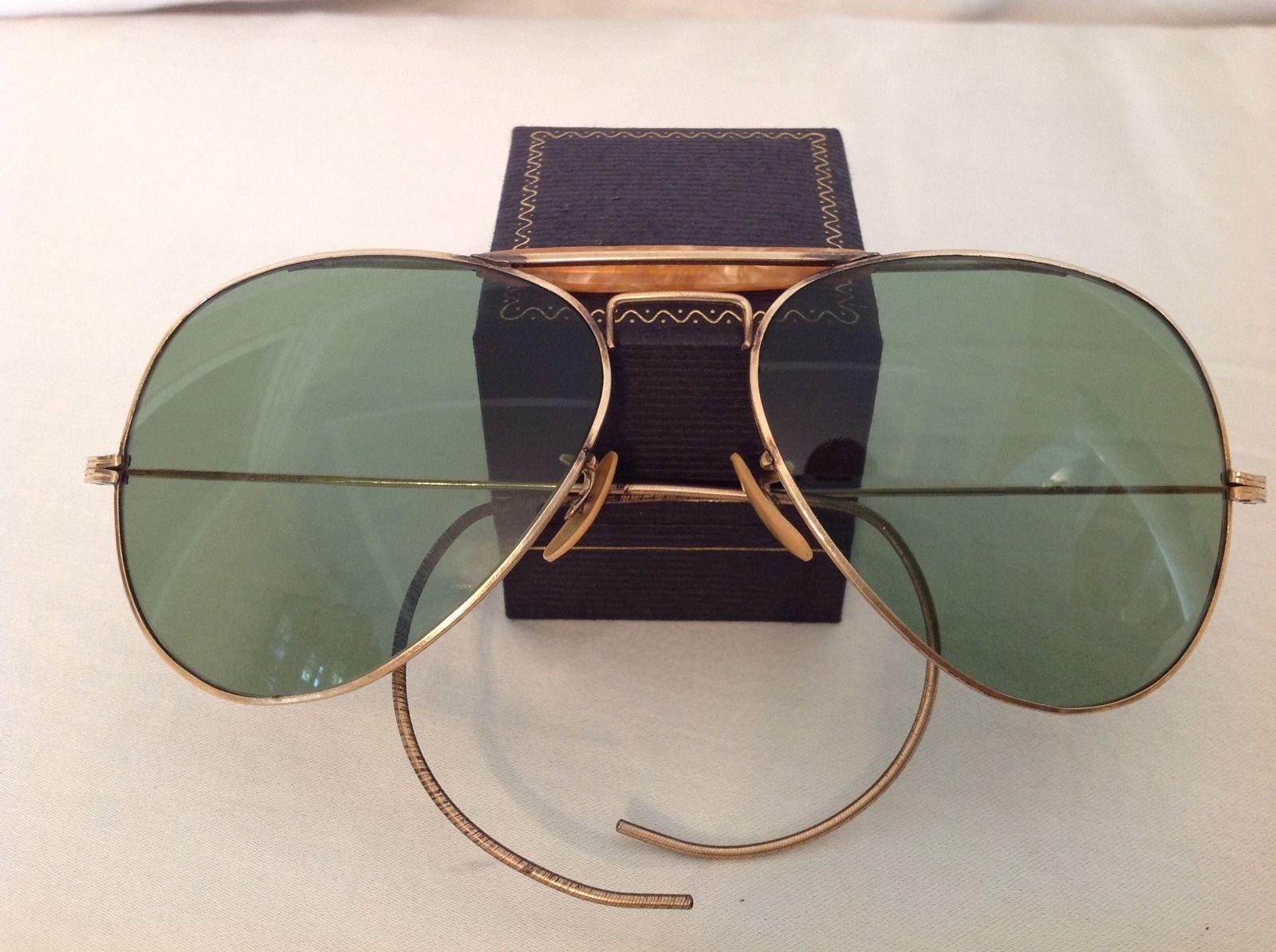 WWII Aviator Sunglasses 1 10 12K GF   eBay   Ray Ban Vintage   Pinterest fbe2915cf05e