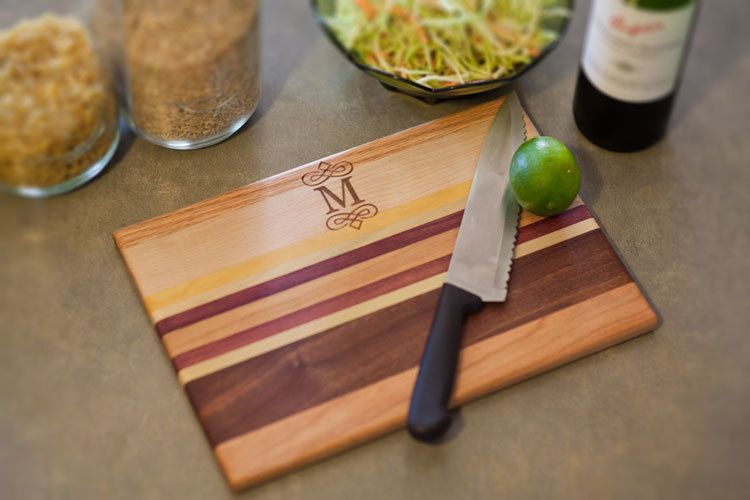 Personalized striped wood cutting board 9x13