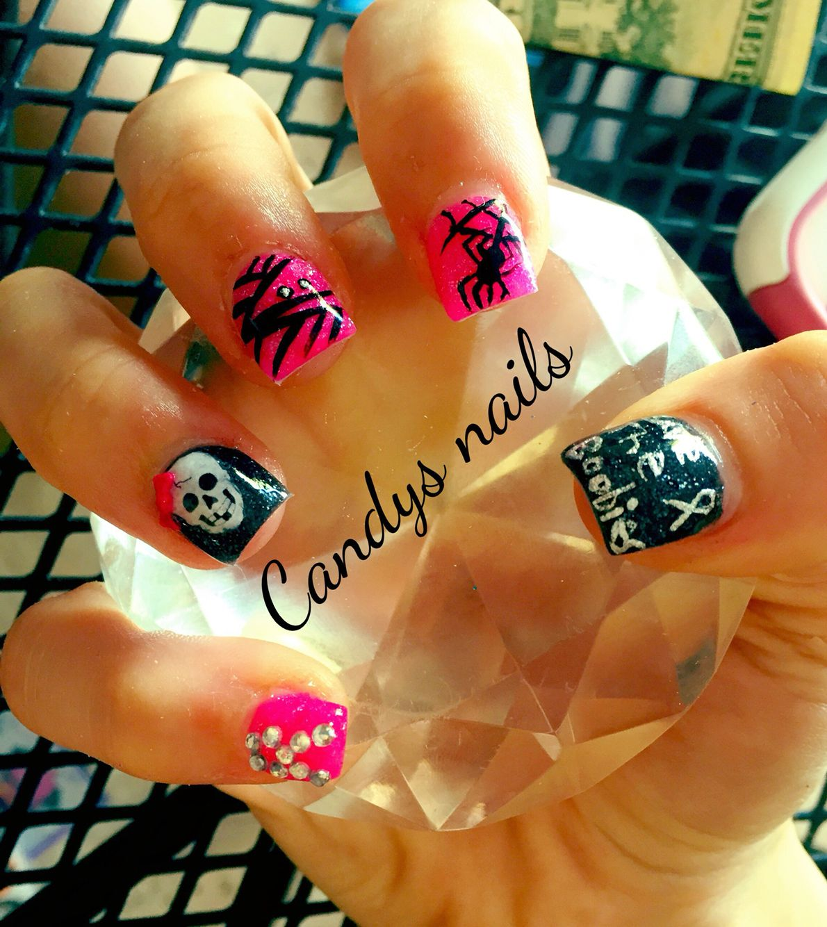Breast cancer and halloween acrylic nails candys nails breast cancer and halloween acrylic nails prinsesfo Image collections