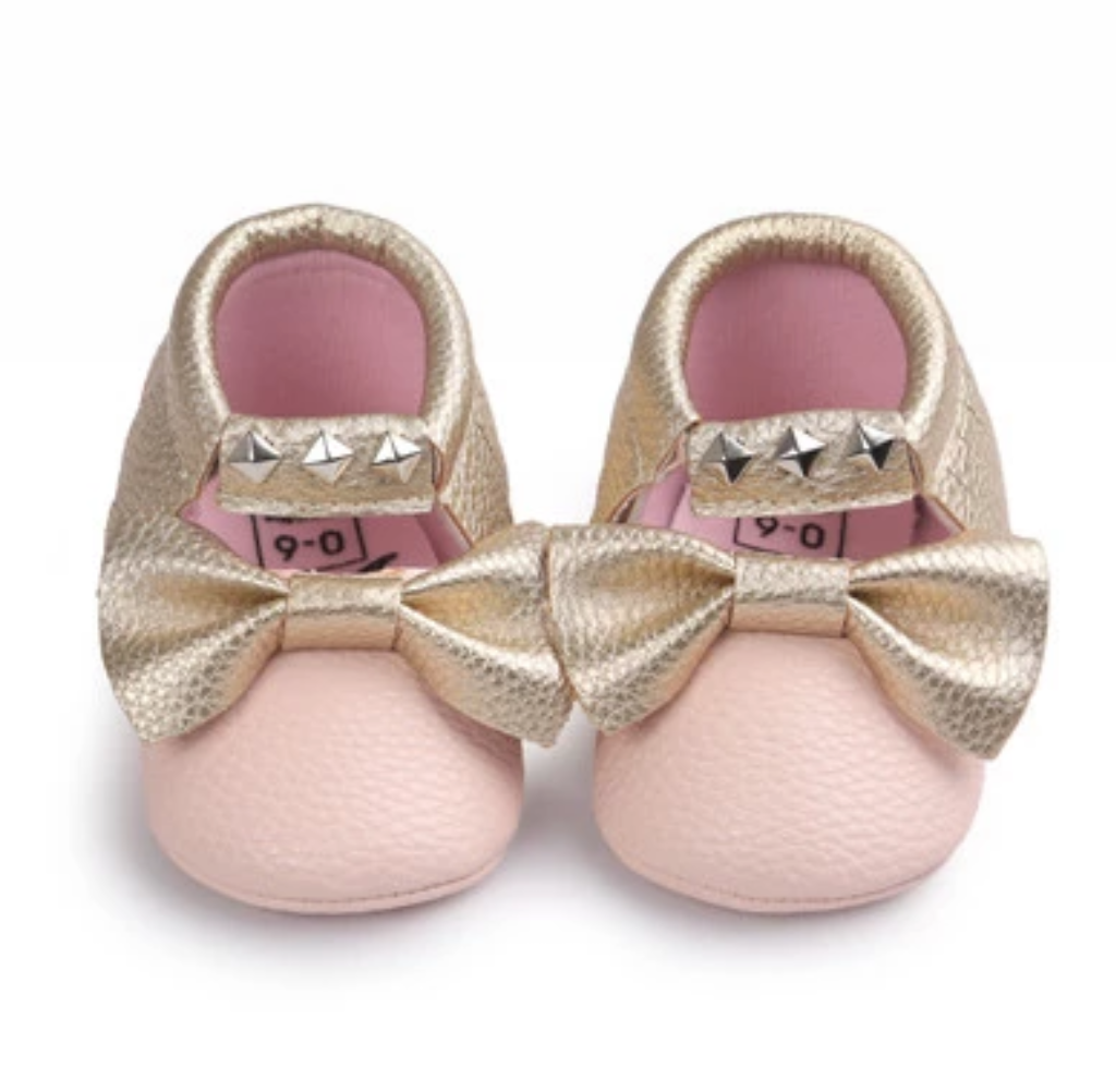 98a278747d22 studs moccs in pink and gold first birthday outfit baby shower gift  beautiful baby moccasins baby girl shoes bow moccasins