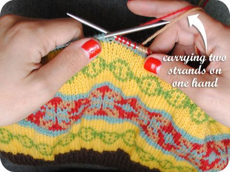 Excellent tutorial on stranded (fair isle) knitting - using ...
